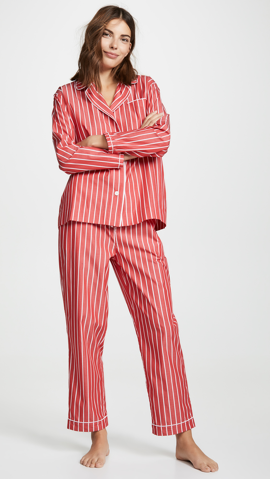 sleepy jones red white stripe pajama set