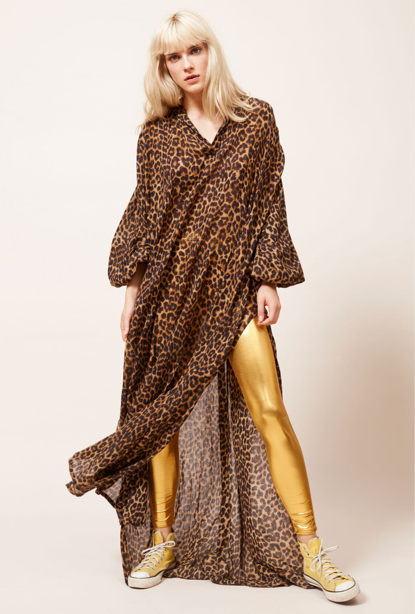 Mes Demoiselles leopard dress, gold leggings