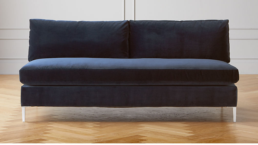 armless velvet loveseat