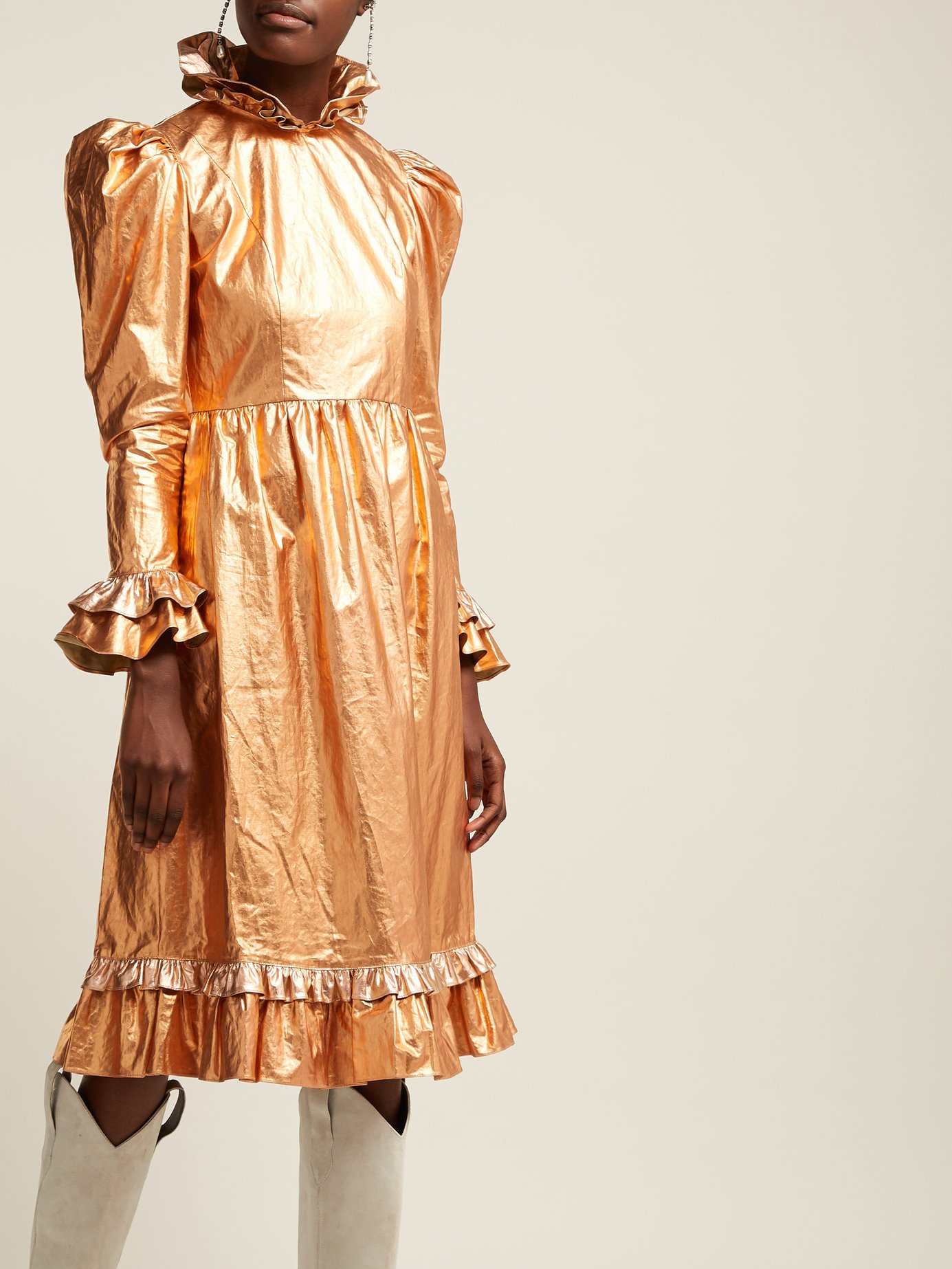 Batsheva gold shimmer ruffle dress