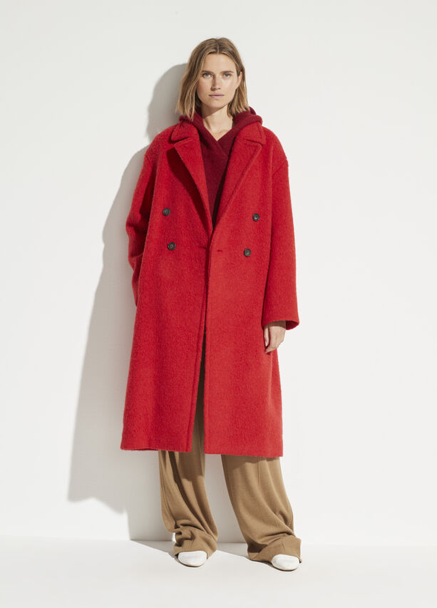 vince double breasted long red coat
