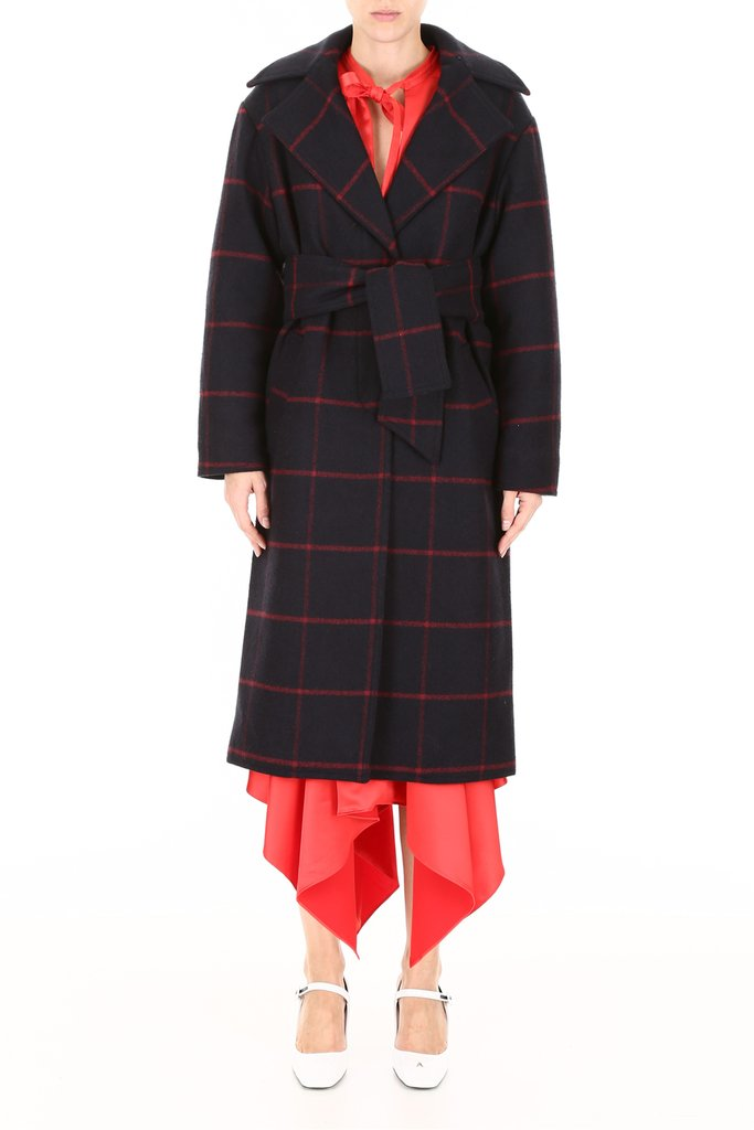 self portrait oversized checked coat on sale