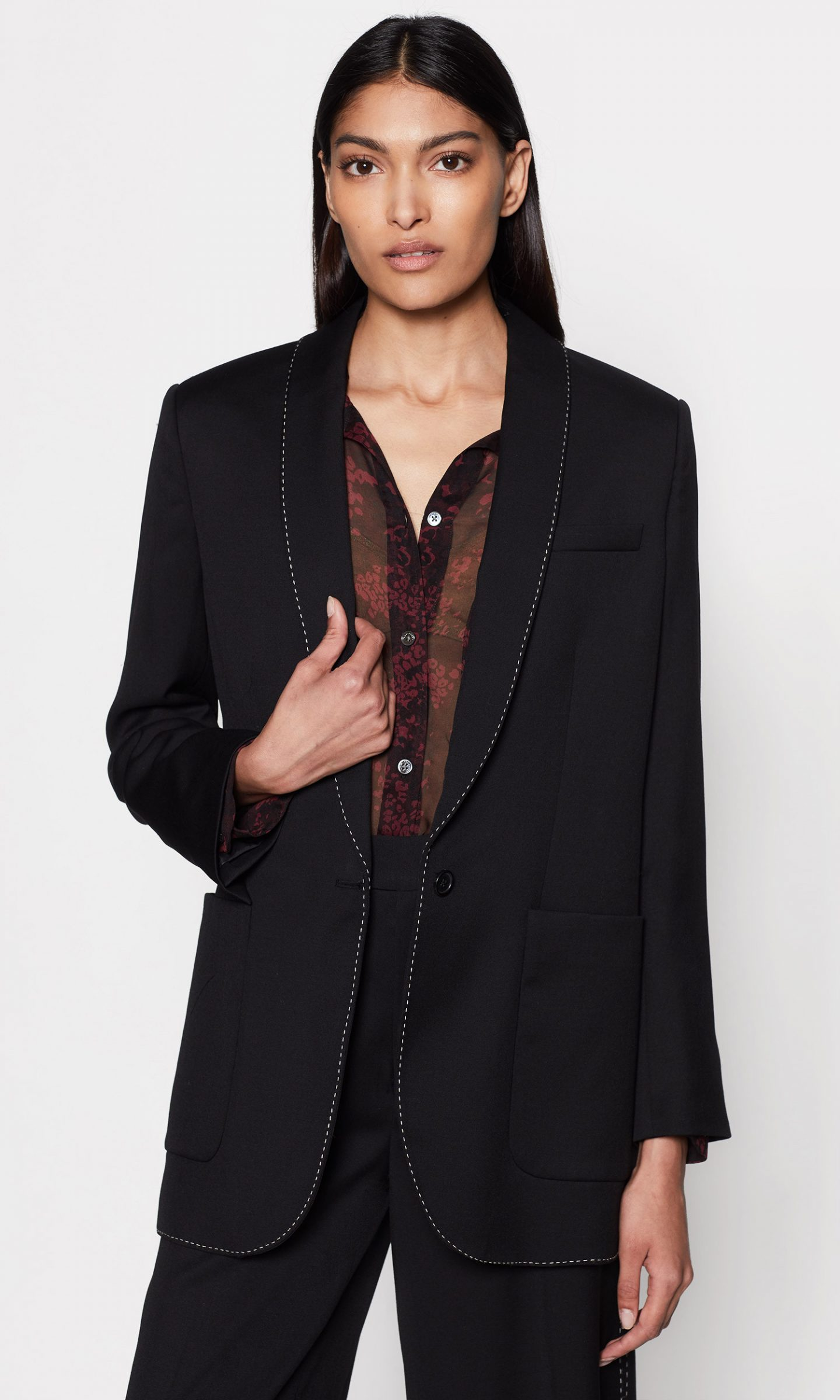 Equipment black wool blazer