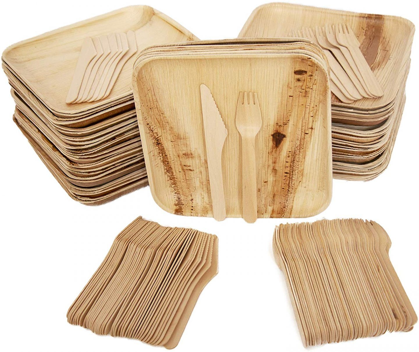 bamboo plates and forks