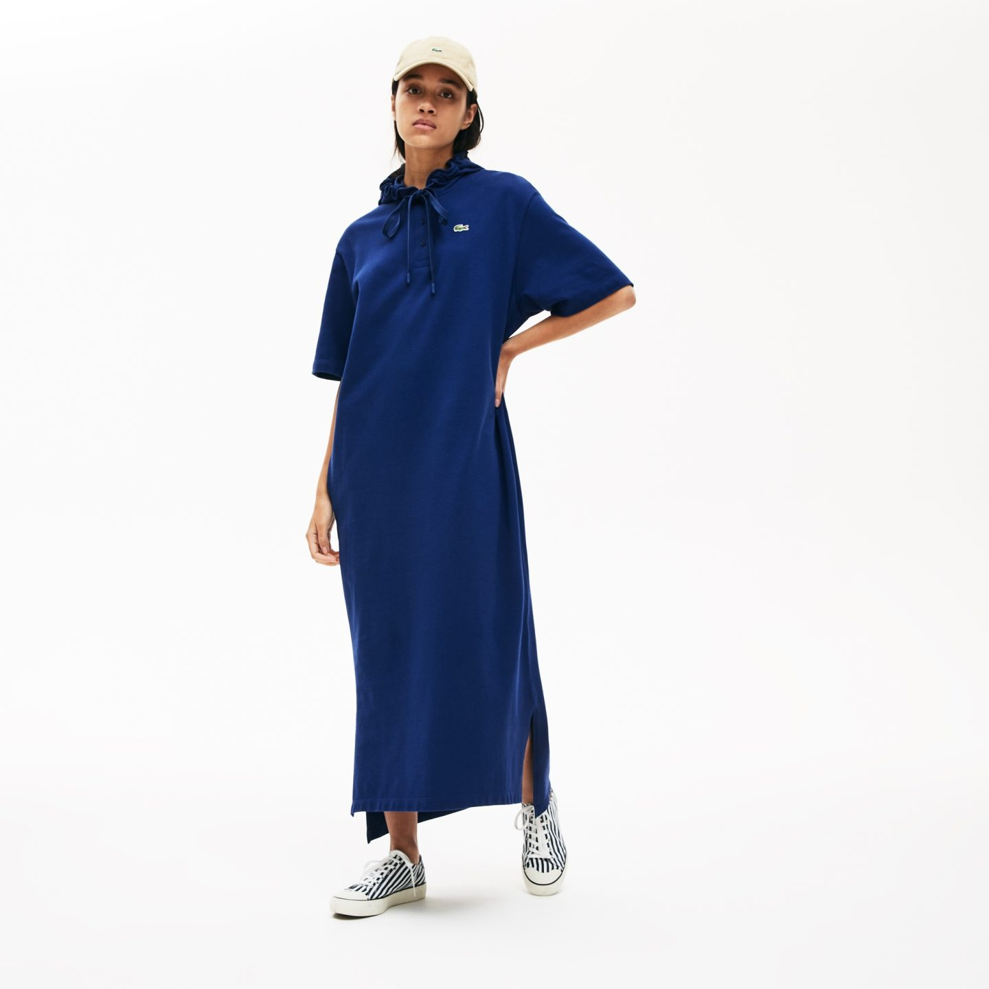 Lacoste long organic cotton hoodie dress