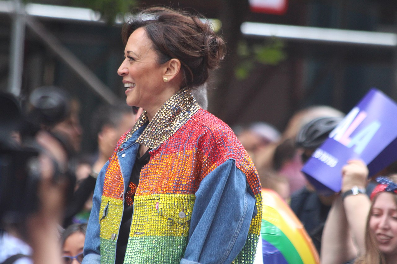 Kamala Harris rainbow coat
