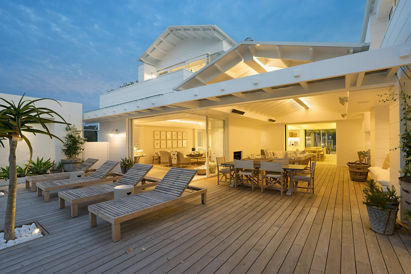 house with large wood deck